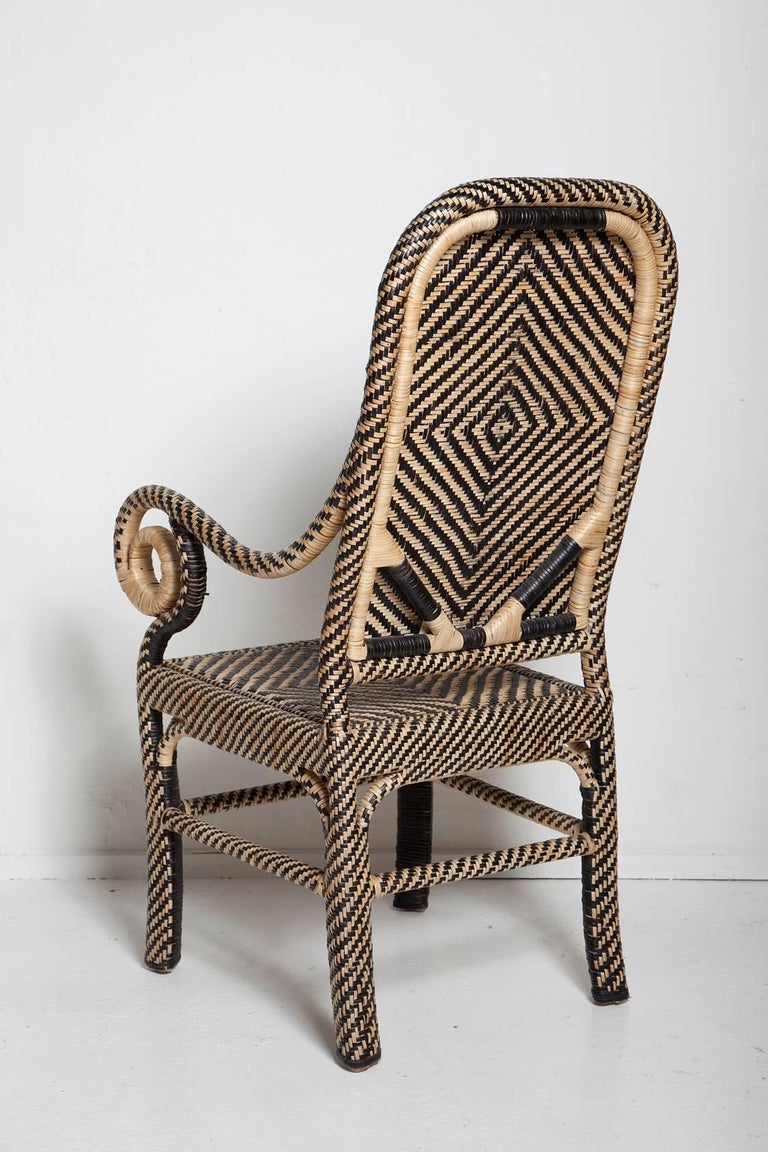 Pair of Woven Rattan Armchairs In Good Condition For Sale In North Miami, FL