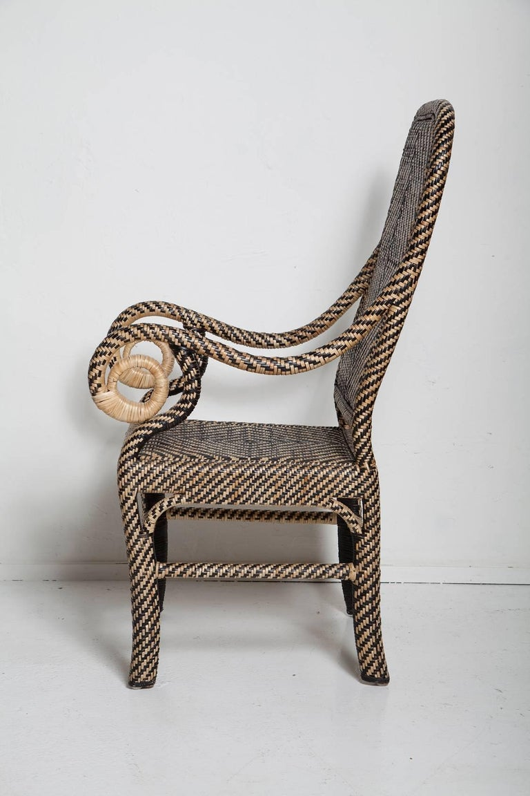 Late 20th Century Pair of Woven Rattan Armchairs For Sale