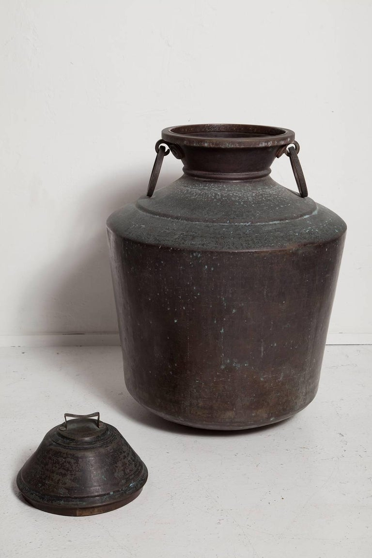 Patinated Giant Bronze Lidded Vessel For Sale