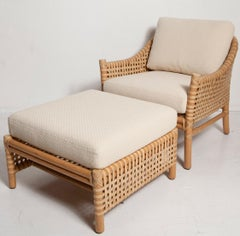Vintage Woven Leather Armchair and Ottoman Set by McGuire