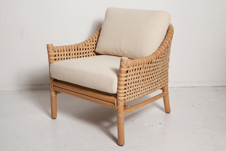 American Vintage Woven Leather Armchair and Ottoman Set by McGuire For Sale