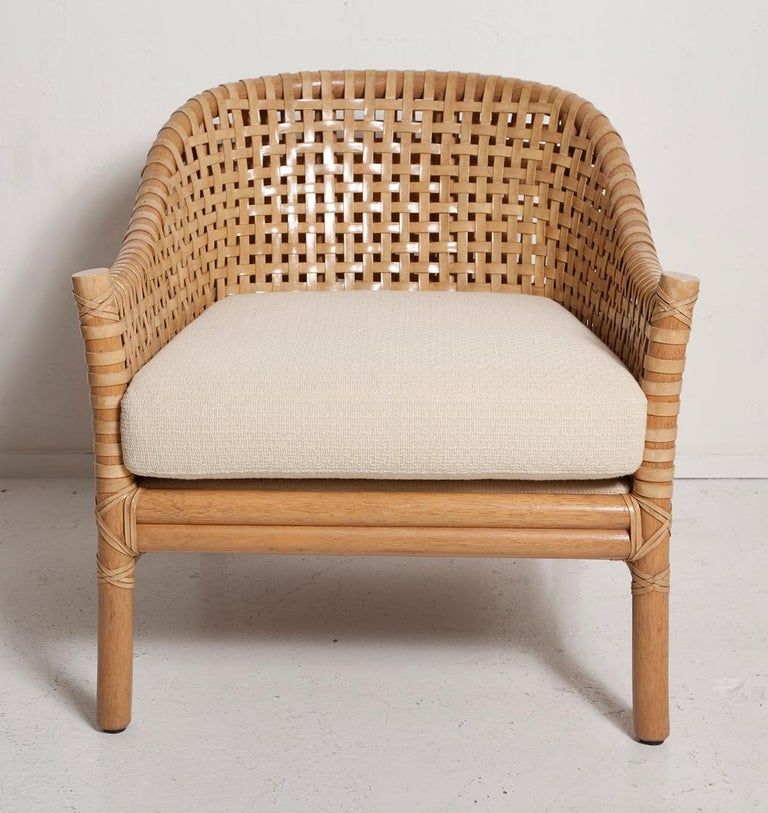 Vintage Woven Leather Armchair and Ottoman Set by McGuire In Good Condition For Sale In North Miami, FL