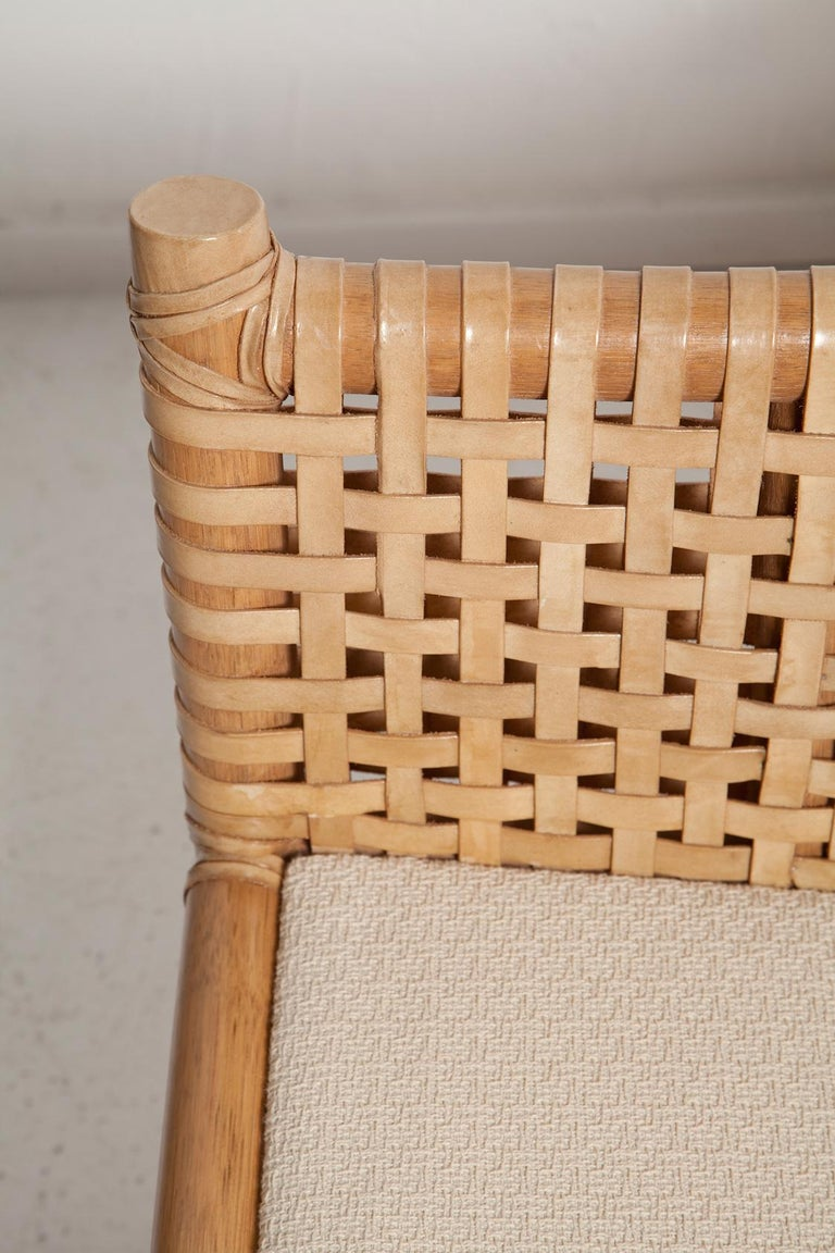Vintage Woven Leather Armchair and Ottoman Set by McGuire For Sale 2
