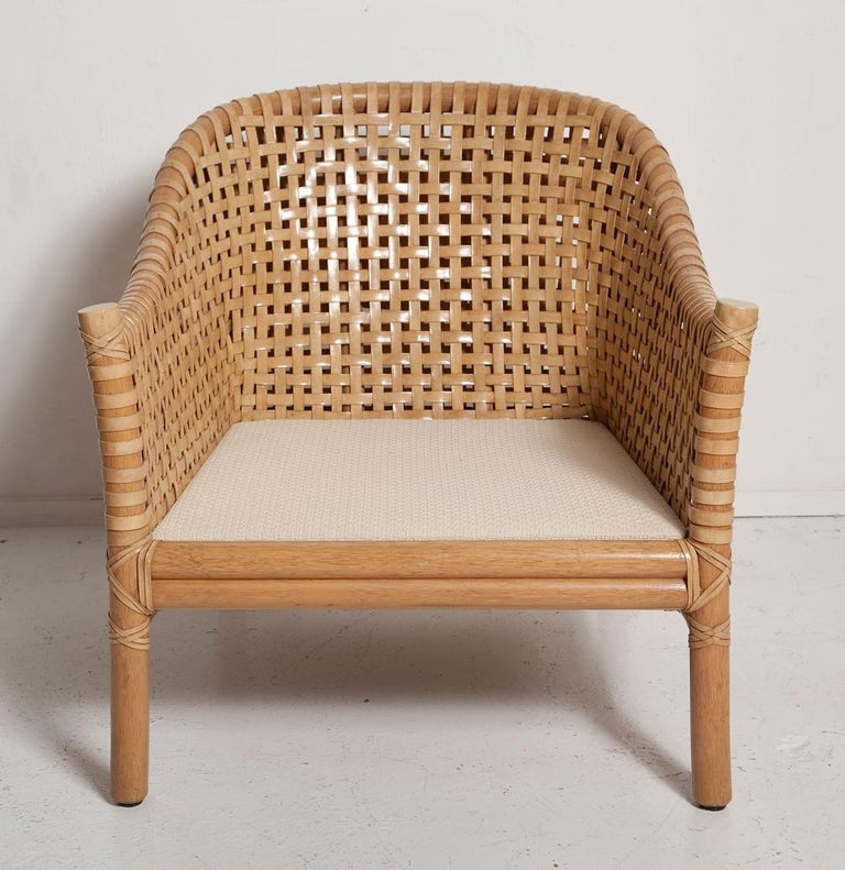 Vintage Woven Leather Armchair and Ottoman Set by McGuire For Sale 1