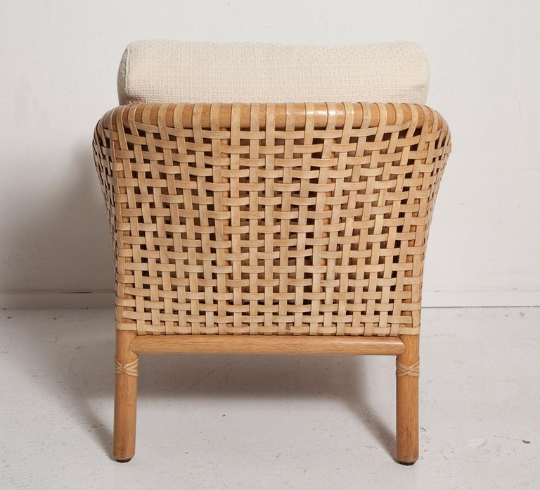 Vintage Woven Leather Armchair and Ottoman Set by McGuire For Sale 3