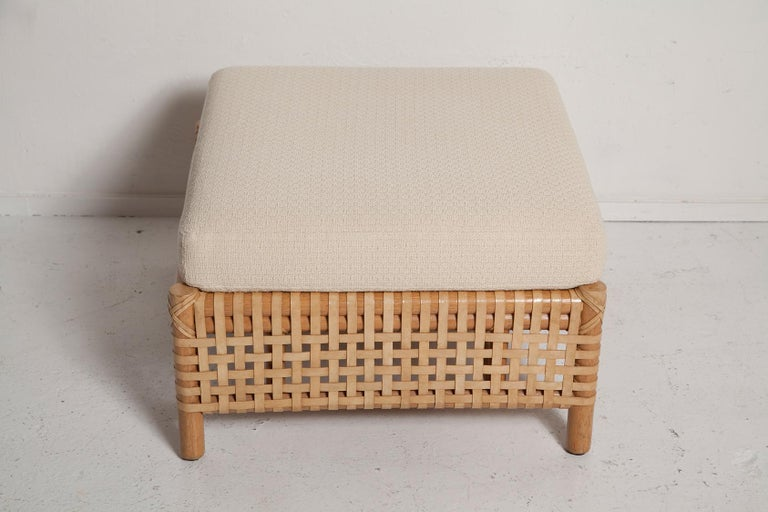 Vintage Woven Leather Armchair and Ottoman Set by McGuire For Sale 7