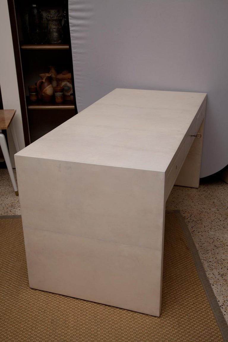 Art Deco Fully Restored 1940s Parchment Partner's Desk in the Style of Jean-Michel Frank For Sale