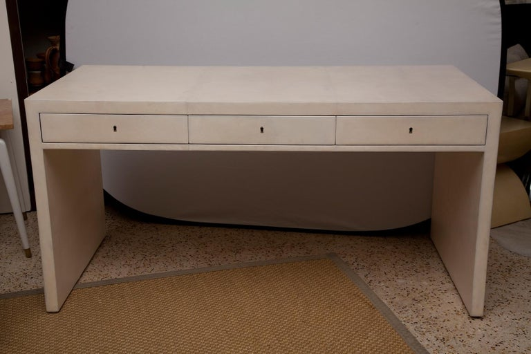 Fully Restored 1940s Parchment Partner's Desk in the Style of Jean-Michel Frank For Sale 3