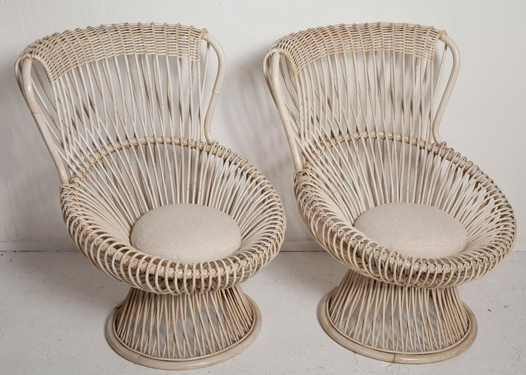 Mid-Century Modern Restored Pair of 1950s Margherita Chairs by Franco Albini for Vittorio Bonacino For Sale