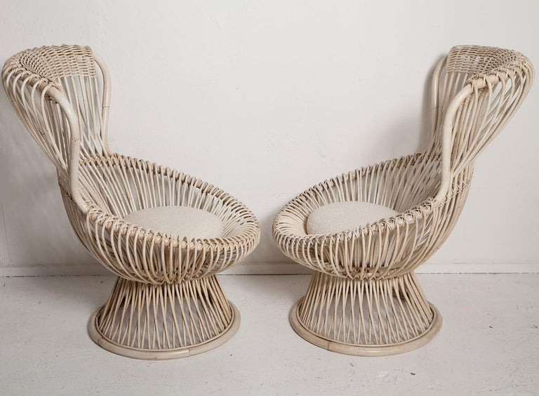Restored Pair of 1950s Margherita Chairs by Franco Albini for Vittorio Bonacino In Good Condition For Sale In North Miami, FL