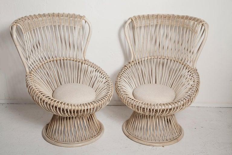 Italian Restored Pair of 1950s Margherita Chairs by Franco Albini for Vittorio Bonacino For Sale
