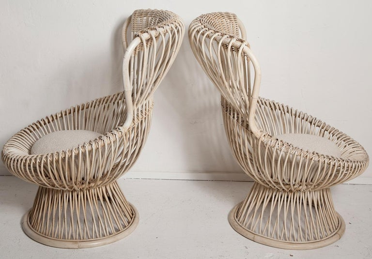 Painted Restored Pair of 1950s Margherita Chairs by Franco Albini for Vittorio Bonacino For Sale