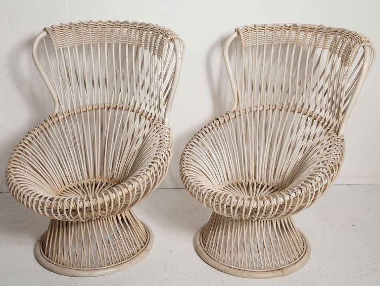 Mid-20th Century Restored Pair of 1950s Margherita Chairs by Franco Albini for Vittorio Bonacino For Sale
