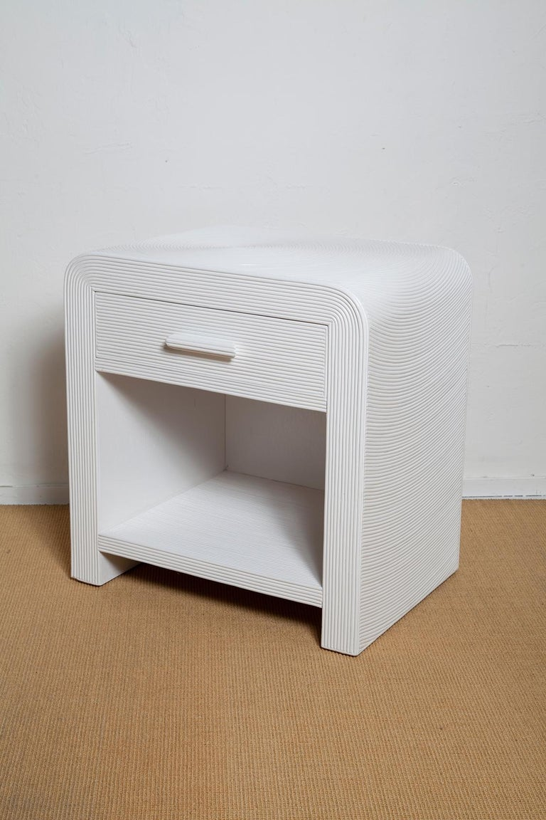 American Pair of White Lacquered 1970s Crespi Style Split Bamboo Nightstands For Sale