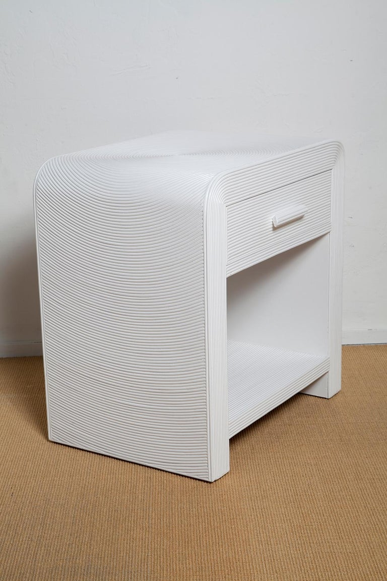 Pair of White Lacquered 1970s Crespi Style Split Bamboo Nightstands For Sale 2