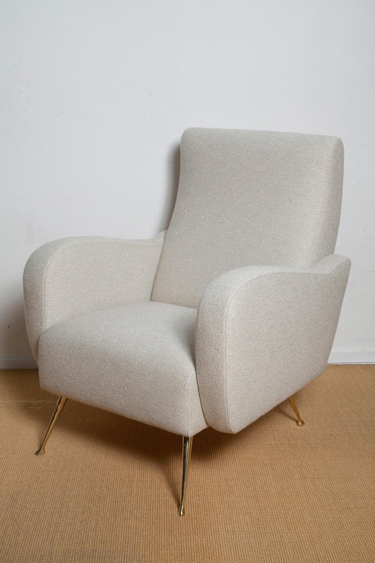 Polished Pair of Fully Restored 1950s Italian Lounge Chairs in Luxe Metal Infused Fabric For Sale