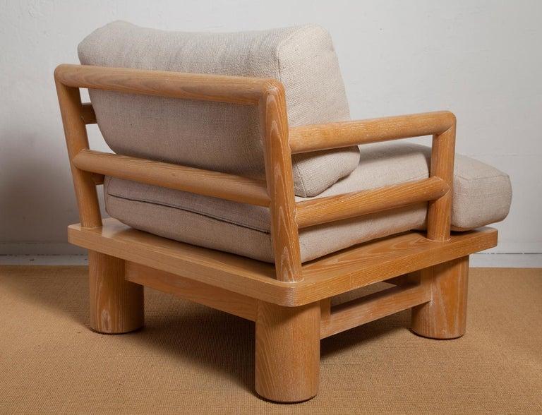 Mid-Century Modern Pair of Karl Springer Cerused Oak Dowelwood Chairs For Sale