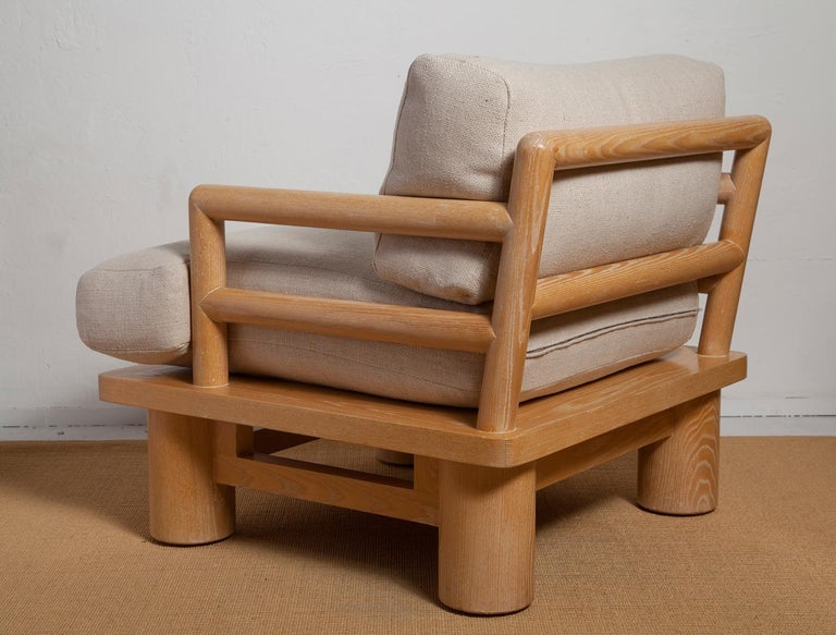 Hand-Woven Pair of Karl Springer Cerused Oak Dowelwood Chairs For Sale