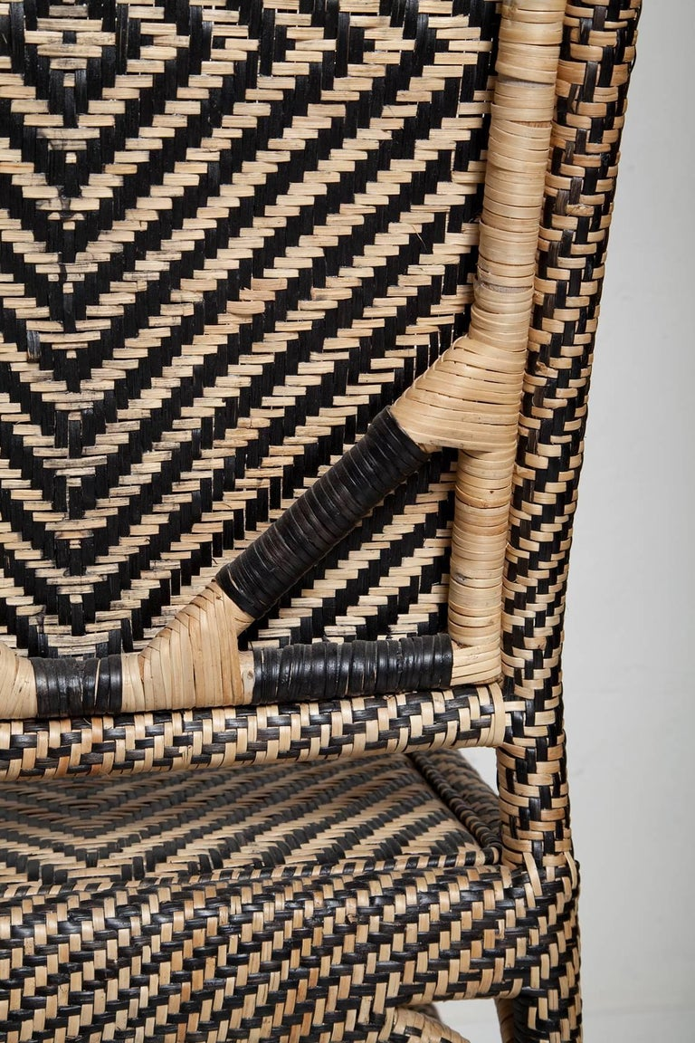 Pair of Woven Rattan Armchairs For Sale 8