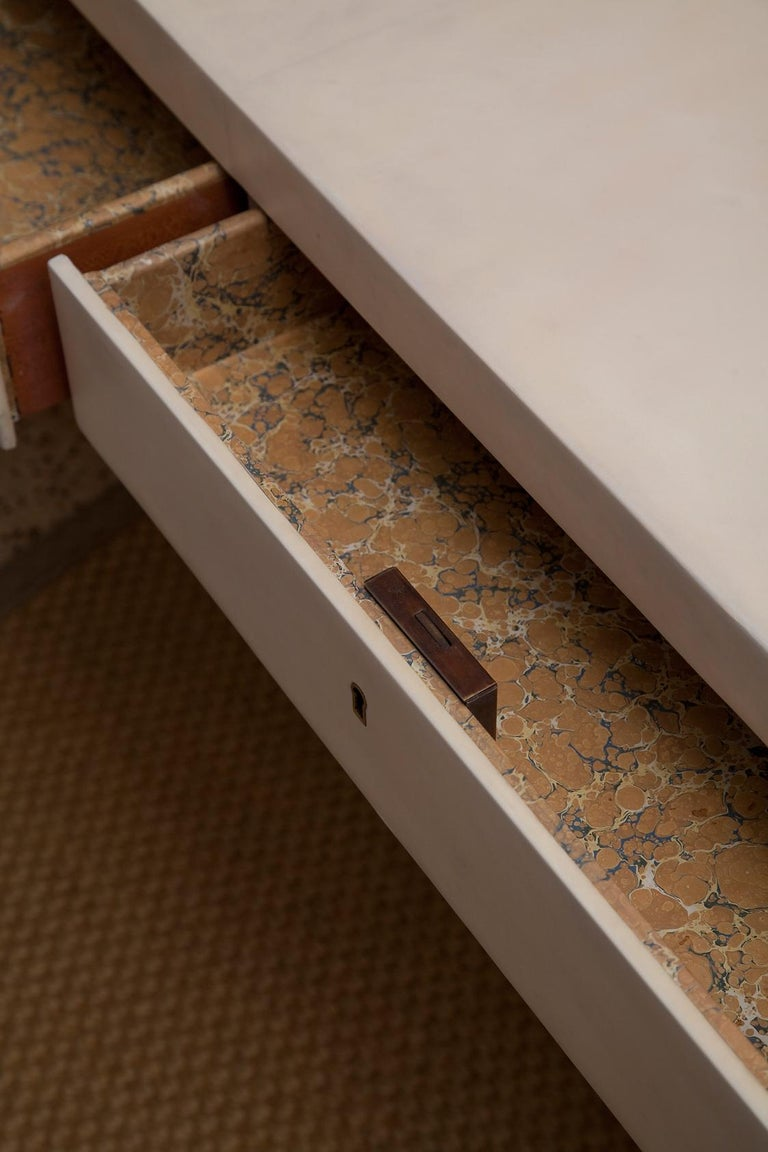 Fully Restored 1940s Parchment Partner's Desk in the Style of Jean-Michel Frank For Sale 8