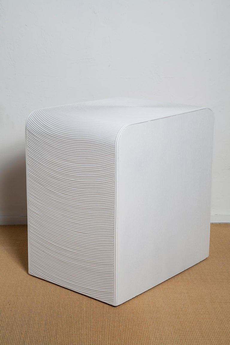 Late 20th Century Pair of White Lacquered 1970s Crespi Style Split Bamboo Nightstands For Sale