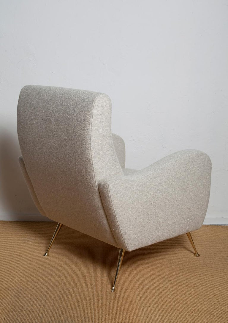 Pair of Fully Restored 1950s Italian Lounge Chairs in Luxe Metal Infused Fabric For Sale 1