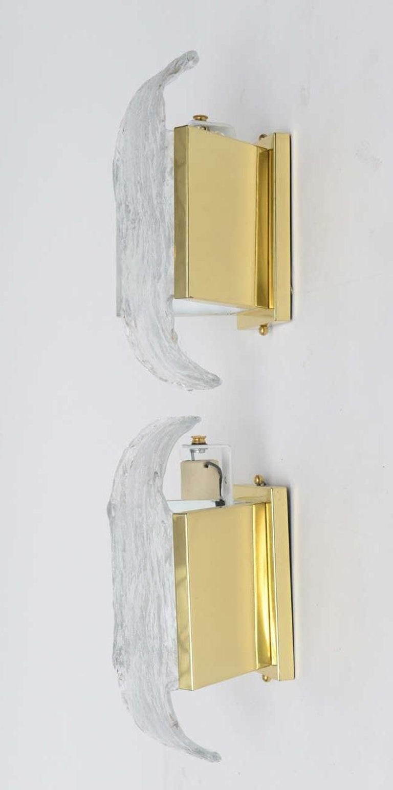 Pair of 1960s Italian Brass and Murano Glass Wall Sconces by Mazzega ...
