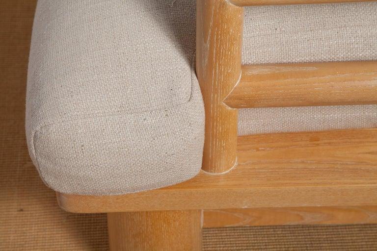 Silk Pair of Karl Springer Cerused Oak Dowelwood Chairs For Sale