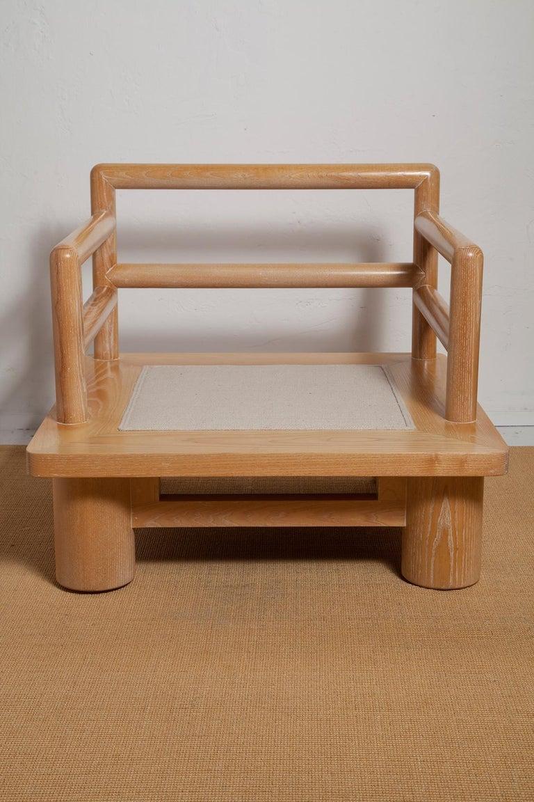 Pair of Karl Springer Cerused Oak Dowelwood Chairs For Sale 8