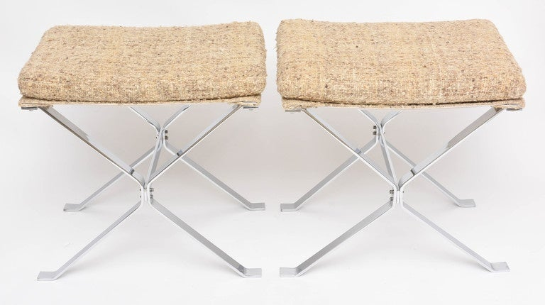 Pair of nickeled steel and raw silk ottomans by Alessandro Albrizzi.