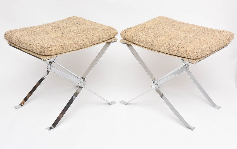 Mid-Century Modern Pair of Nickeled Steel and Silk Ottomans by Alessandro Albrizzi For Sale