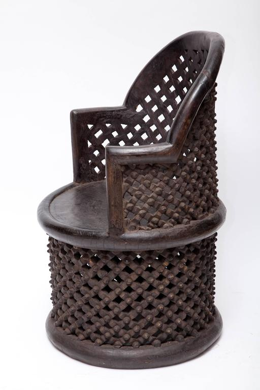 Hand-Carved Bamileke Hand Carved Wood Tribal Chair - One Left! For Sale