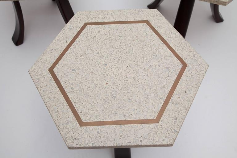 Mid-Century Modern Brass Inlaid Terrazzo Top Side Table by Harvey Probber (One Available) For Sale