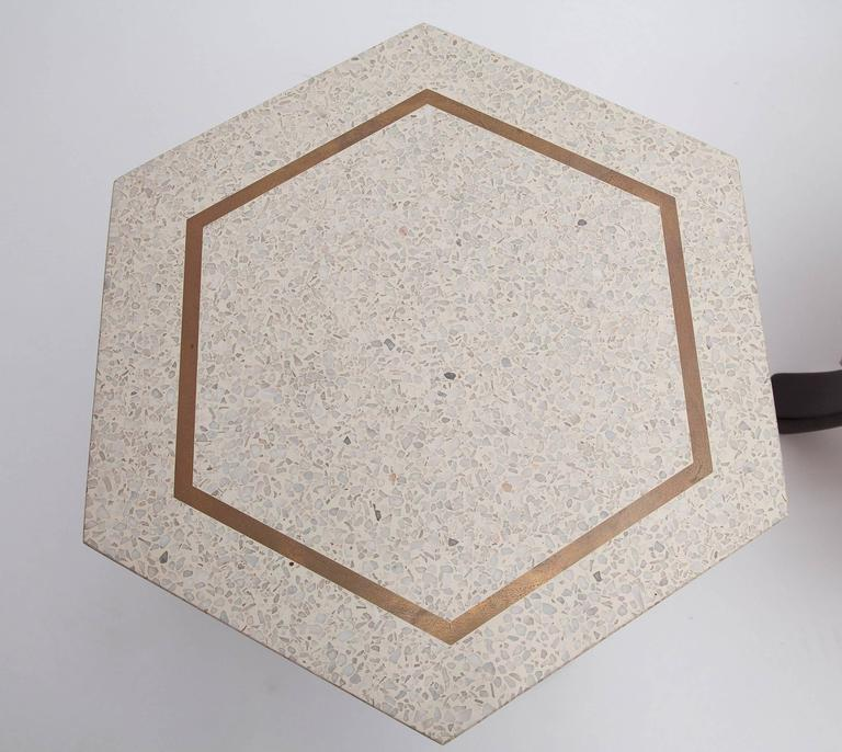 American Brass Inlaid Terrazzo Top Side Table by Harvey Probber (One Available) For Sale