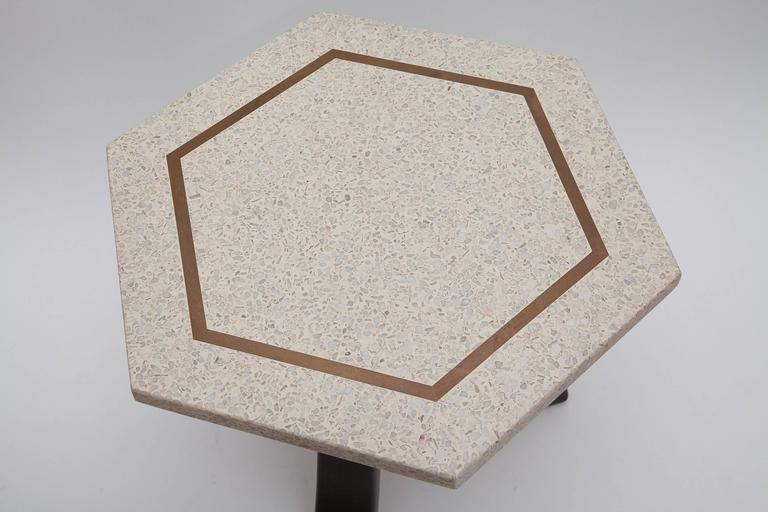 Inlay Brass Inlaid Terrazzo Top Side Table by Harvey Probber (One Available) For Sale