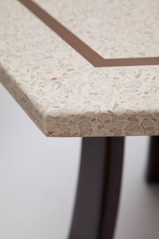 Brass Inlaid Terrazzo Top Side Table by Harvey Probber (One Available) For Sale 1
