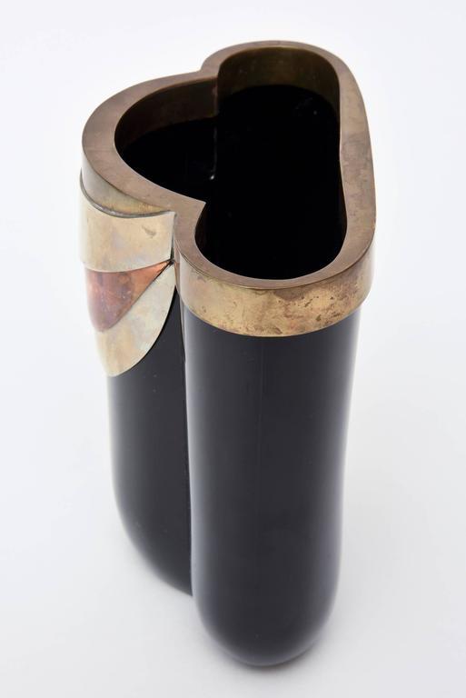 Antonio Pavia Murano Black Glass and Mixed Metals Sculptural Vase Vessel Italian In Good Condition In North Miami, FL