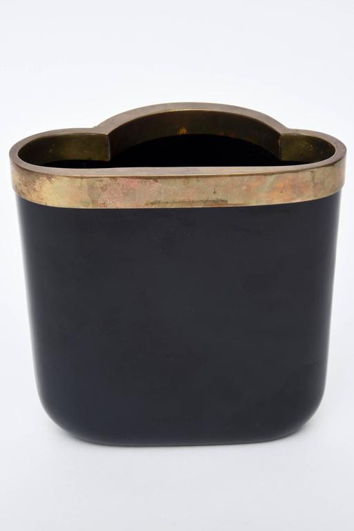 Mid-20th Century Antonio Pavia Murano Black Glass and Mixed Metals Sculptural Vase Vessel Italian