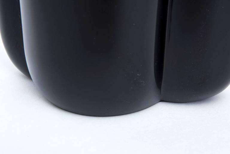 Silver Antonio Pavia Murano Black Glass and Mixed Metals Sculptural Vase Vessel Italian