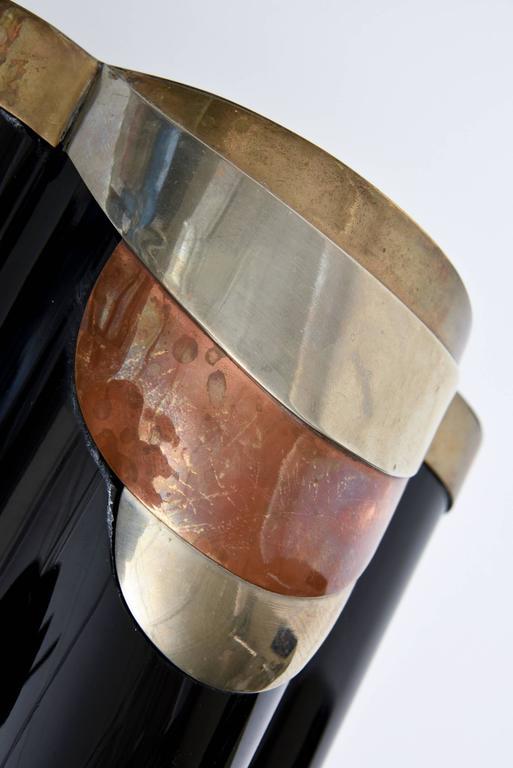 Antonio Pavia Murano Black Glass and Mixed Metals Sculptural Vase Vessel Italian 2
