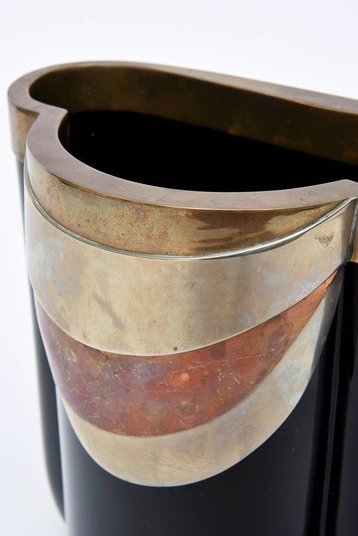Art Deco Antonio Pavia Murano Black Glass and Mixed Metals Sculptural Vase Vessel Italian
