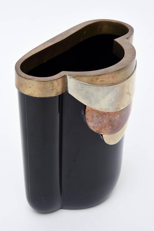 Antonio Pavia Murano Black Glass and Mixed Metals Sculptural Vase Vessel Italian 1