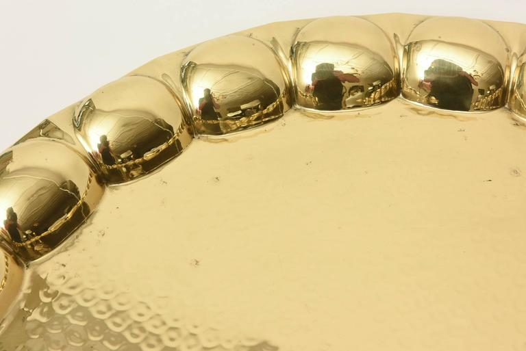 Unknown Hand-Hammered Brass Monumental Serving Tray Barware For Sale