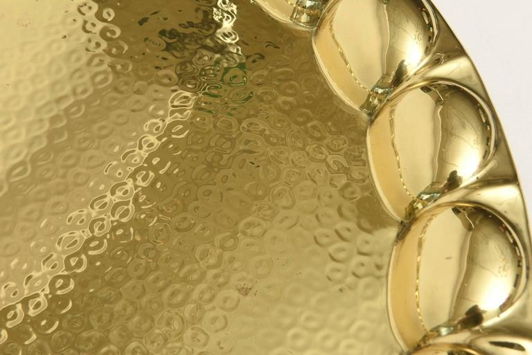 Hand-Hammered Brass Monumental Serving Tray Barware In Excellent Condition For Sale In North Miami, FL
