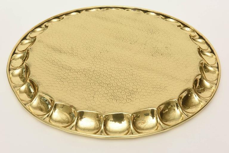 Hand-Hammered Brass Monumental Serving Tray Barware For Sale 3