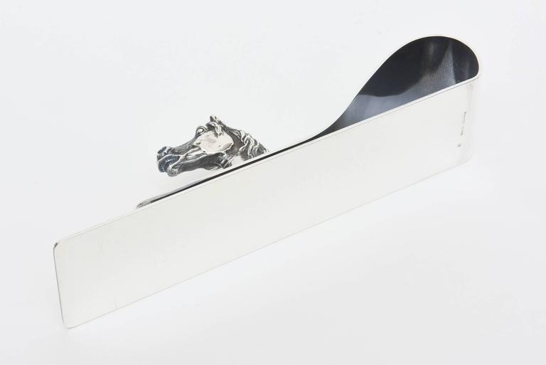 Modern Hermes Silver Plate Equestrian Paper Holder or Desk Accessory Vintage For Sale