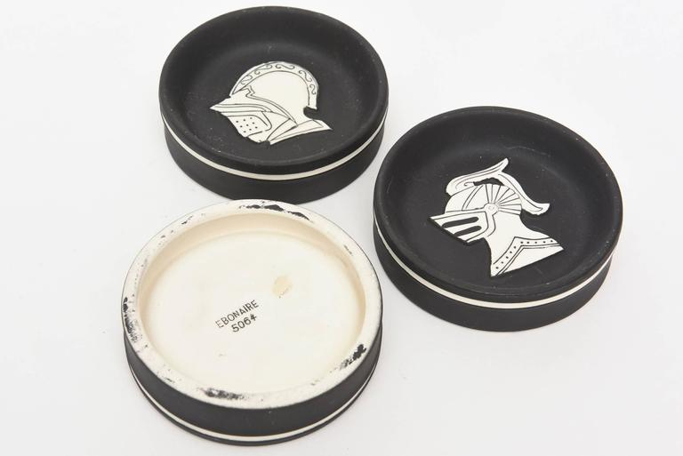 Architectural Porcelain Black and White Knights Sculptural Dishes For Sale 1