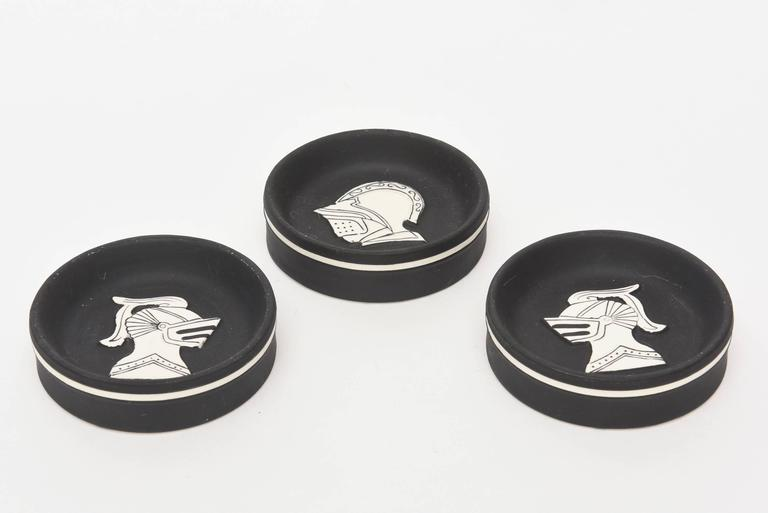 Mid-Century Modern Architectural Porcelain Black and White Knights Sculptural Dishes For Sale