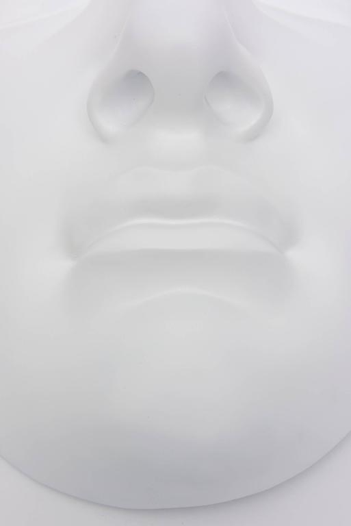 White Resin and Plaster Face Wall Sculpture In Good Condition For Sale In North Miami, FL