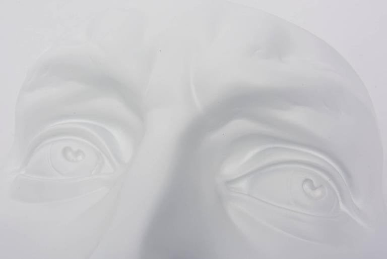 Mid-20th Century White Resin and Plaster Face Wall Sculpture For Sale